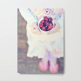 Sweet Cherry Girl Metal Print