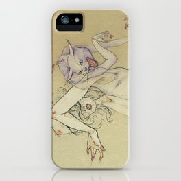 The lady and the wild cat. iPhone Case