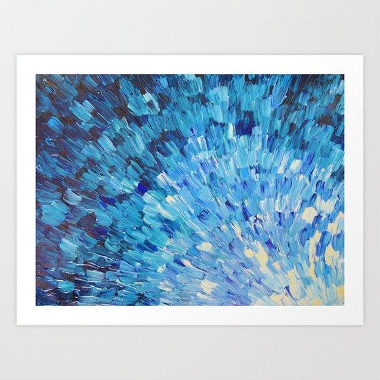 SEA SCALES IN INDIGO - Stunning Ocean Waves Mermaid Fish Navy Royal Blue Marine Abstract Painting Art Print