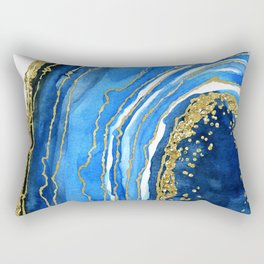 Cobalt blue and gold geode in watercolor (2) Rectangular Pillow