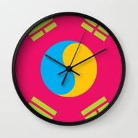 korea Wall Clocks featuring Neon Nation SOUTH KOREA by T.K.O.