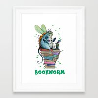 bookworm Framed Art Prints featuring Bookworm by TheVioletWall