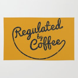 Regulated by Coffee // Caffeine Addict Typography Cafe Barista Humor Retro Vintage Quotes Rug