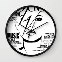 kate moss Wall Clocks featuring Kate Moss / David Bowie by Linda Nicolaysen