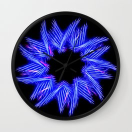 Electric Blue Enneagram Star Wall Clock