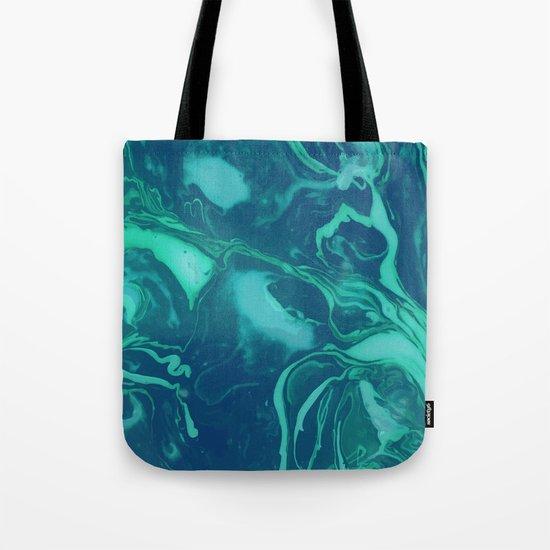 Teal Marble Tote Bag