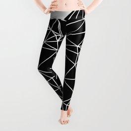 Random delaunay triangulation - black Leggings