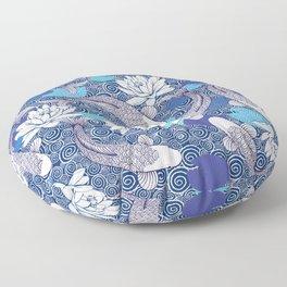 Blue Koi Ripples Pattern Floor Pillow
