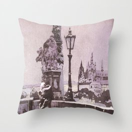 Couple kissing on Charles Bridge with Prague Castle in background- Czech Republic. Throw Pillow
