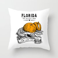 florida Throw Pillows featuring Florida by Krikoui