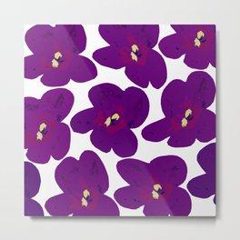 Purple Retro Flowers #decor #society6 #buyart Metal Print