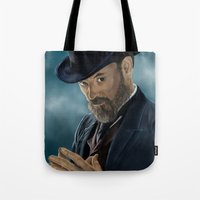 moriarty Tote Bags featuring Professor Moriarty by San Fernandez