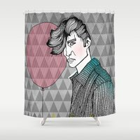 ballon Shower Curtains featuring The Man With The Ballon by Karin Ohlsson