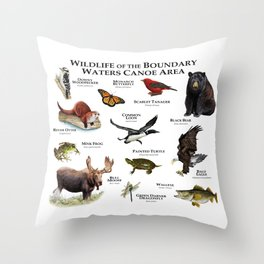 Wildlife of the Boundary Water Canoe Area Throw Pillow