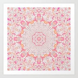 BOHO SUMMER JOURNEY MANDALA - PASTEL ROSE PINK Art Print
