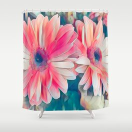pink gerbera daisy in the vase Shower Curtain