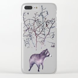 Raccoon Forest Clear iPhone Case