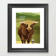 Bull Enjoys Coffee Framed Art Print