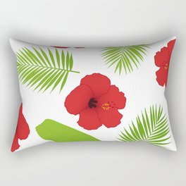 Red hibiscus and palm leaves seamless pattern. Rectangular Pillow