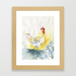 White Rooster Framed Art Print