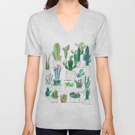 cacti garden watercolor Unisex V-Neck