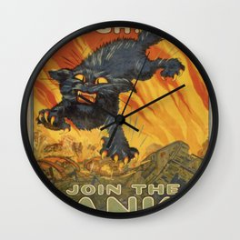 Vintage poster - Join the Tanks Wall Clock