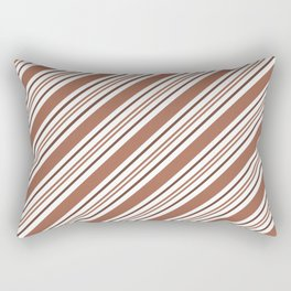 Sherwin Williams Cavern Clay Thick and Thin Angled Lines Triple Stripes Rectangular Pillow