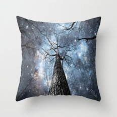 Wintry Trees Galaxy Skies Steel Blue Throw Pillow