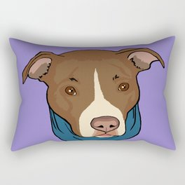 Pit Bull wearing Bandana Purple Rectangular Pillow
