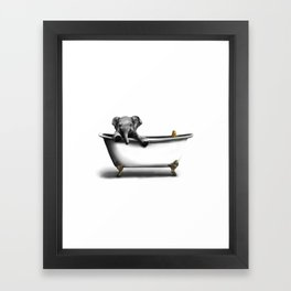 Elephant in Bath Framed Art Print
