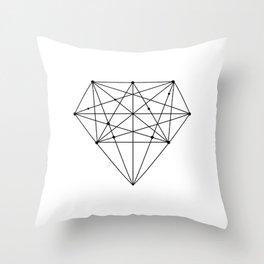 Geometric Diamond black-white poster design lowpoly fashion home decor canvas wall art Throw Pillow