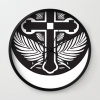 religious Wall Clocks featuring Black And White Cross Religious Symbol by ArtOnWear