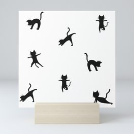 Yoga cats - black cats doing yoga Mini Art Print