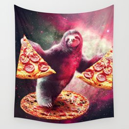 Pizza Sloth Wall Tapestry