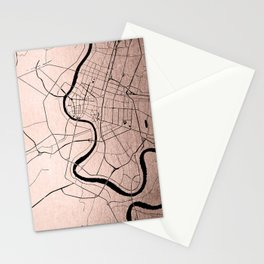 Bangkok Thailand Minimal Street Map - Rose Gold Pink and Black Stationery Cards