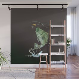 Largemouth Bass Jumping Out Of Water At Night // Spinner lure // Splashing Water // Fish On! Wall Mural