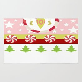 Comet - Pink Candy Cane trees & Ornaments Rug