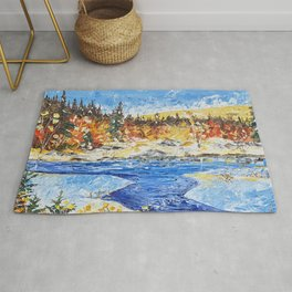 Landscape painting- The clear water River - by LiliFlore Rug
