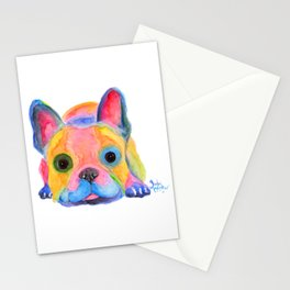 Nosey Dog French Bulldog ' AM I FRENCH ? ' by Shirley MacArthur Stationery Cards