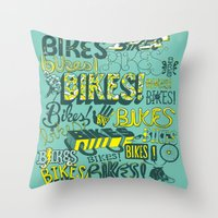 bikes Throw Pillows featuring Bikes! by Matthew Fleming