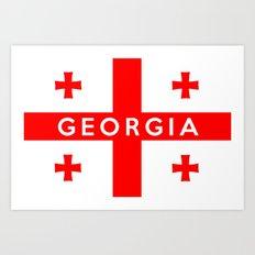 Georgia country flag name text Art Print