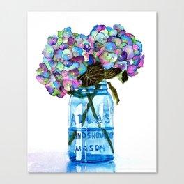 Watercolor Hydrangeas in Blue Mason Jar Canvas Print