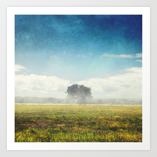 tree and meadow in morning haze Art Print