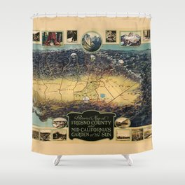 Pictorial map of Fresno County, California (1923) Shower Curtain