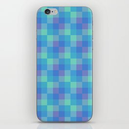 Blue and Purple Small Squares Geometric Layered Digital Pattern iPhone Skin