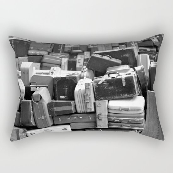 TOWER OF LUGGAGE in Black & White Rectangular Pillow