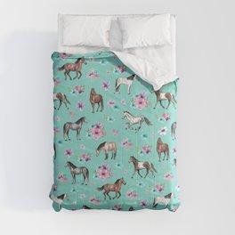 Hand drawn horses, Flower horses, Floral Pattern, Aqua Blue Comforters