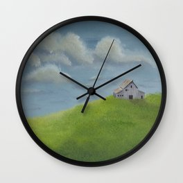 Distant Barn on a Cloudy Day Wall Clock