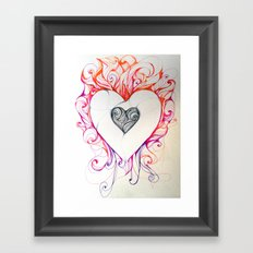 Heart/Fire Framed Art Print