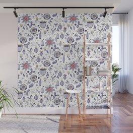Botanical motif, flowers pattern, leaves pattern, Wall Mural